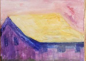 Barn 1, Russell Steven Powell acrylic on canvas, 8×10