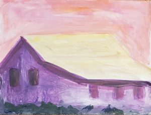 Barn 2, Russell Steven Powell acrylic on paper, 9×12