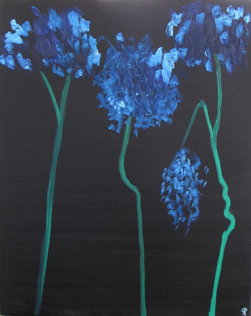 BLUE HYDRANGEA, Russell Steven Powell oil on canvas, 30×24