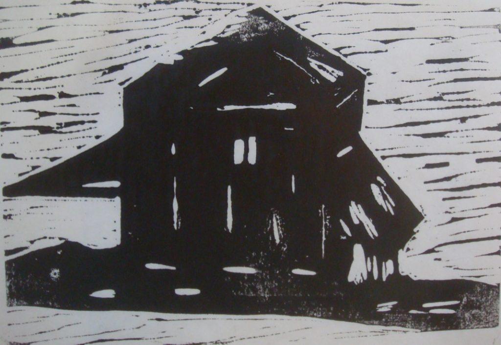 DAKOTA BARN, Russell Steven Powell acrylic linoprint on paper, 8×10