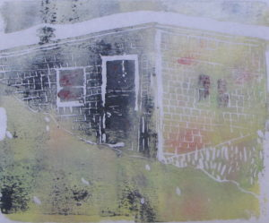 Euphoria dune shack, June, 9 p.m., Russell Steven Powell acrylic on paper linoprint, 10×8