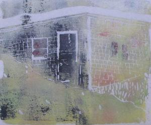 EUPHORIA (DUNE SHACK), JUNE, 9 P.M., Russell Steven Powell acrylic linoprint on paper, 10×8