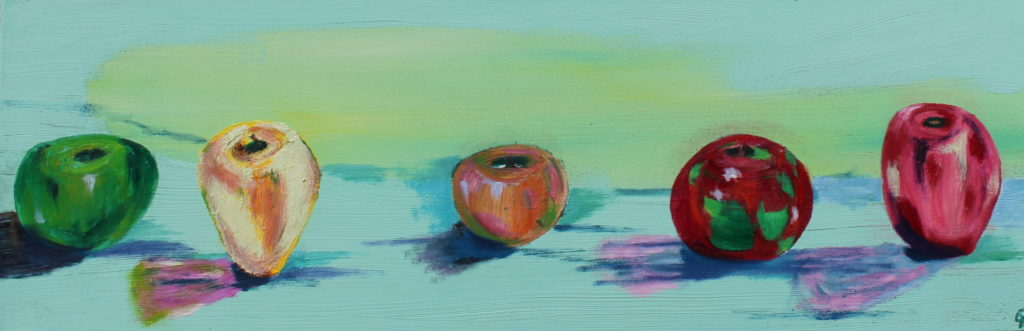 Five apples, Russell Steven Powell oil on canvas, 12×36