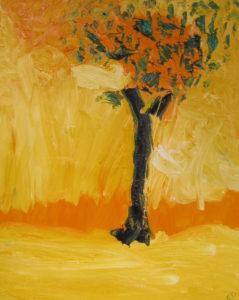 Flaming Oak, Russell Steven Powell oil on canvas, 20×16
