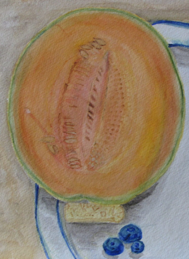 Still Life with Cantaloupe, Russell Steven Powell watercolor on paper, 15×11