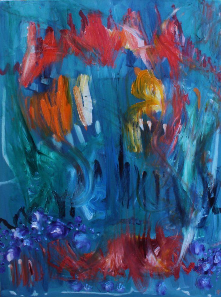 JULY GARDEN, Russell Steven Powell oil on canvas, 48×36