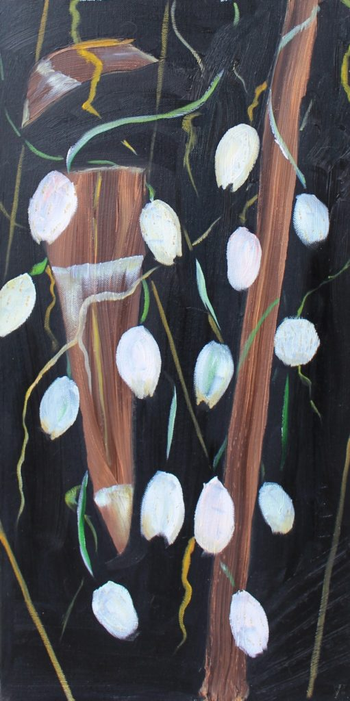 Hanging pods, Russell Steven Powell oil on canvas, 12×24