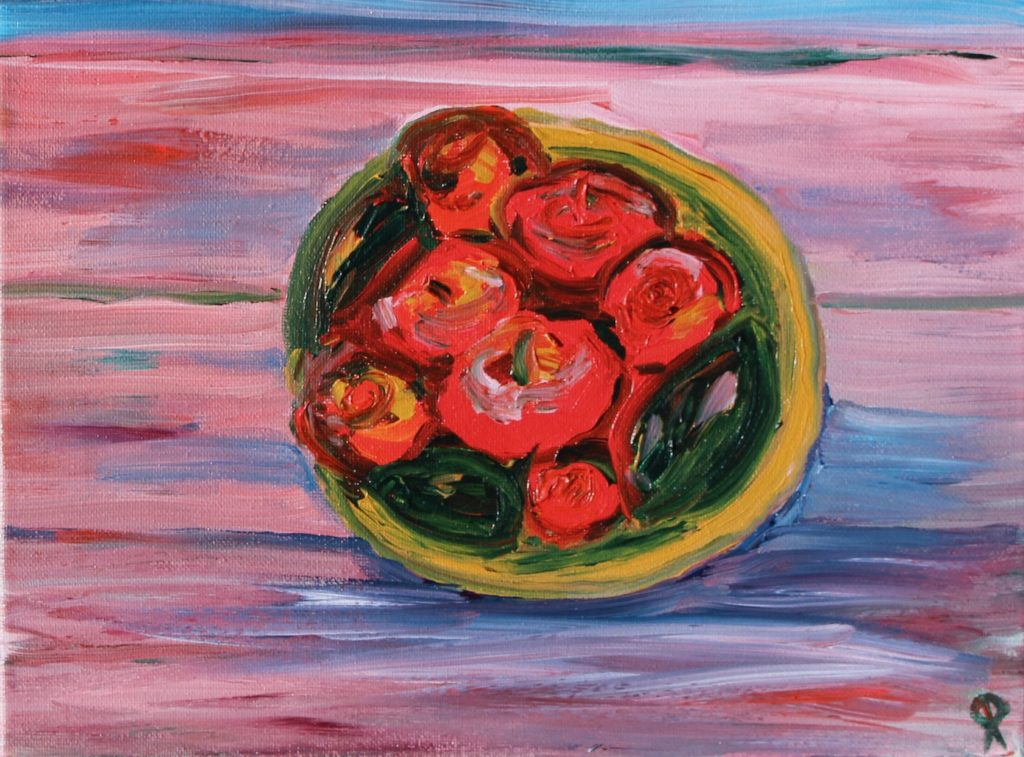 Tomatoes, Dunes, Russell Steven Powell, acrylic on canvas, 9x12
