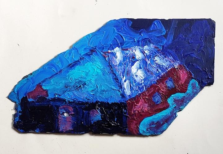 MILKING BARN, Russell Steven Powell acrylic on slate, 9x16