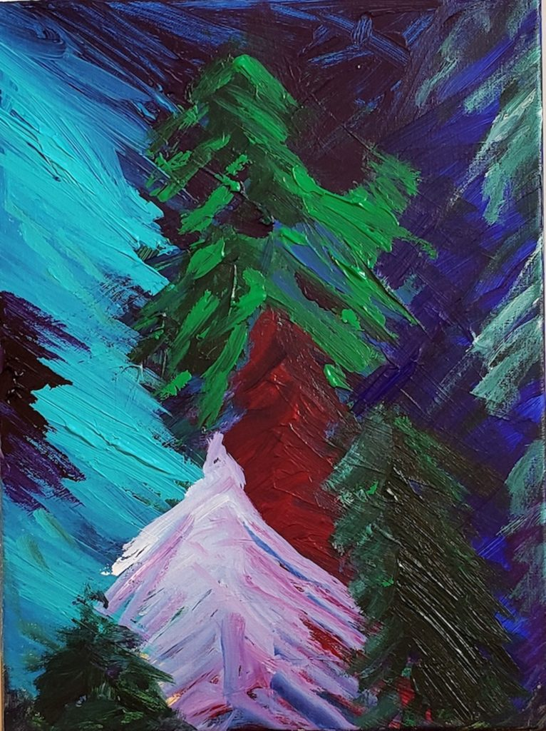 FIRS, Russell Steven Powell acrylic on canvas, 16x12