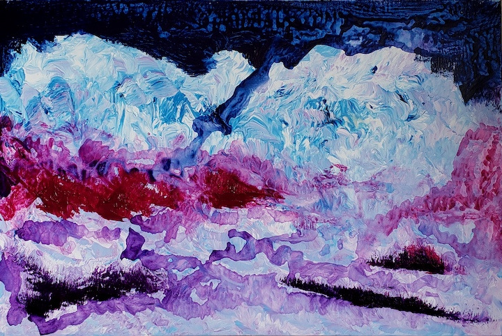 SNOWBANK, Russell Steven Powell acrylic on canvas, 20x30